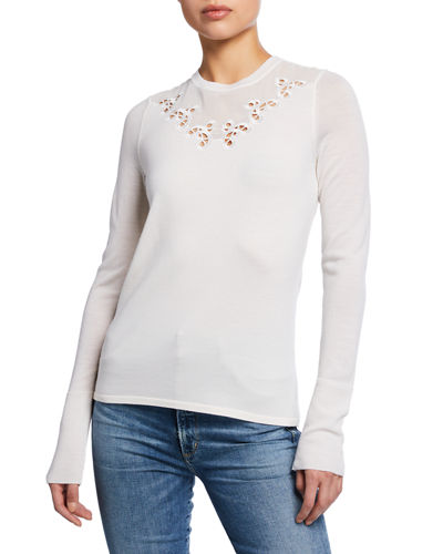 Elie Tahari Tali Crewneck Long-Sleeve Merino Wool Sweater