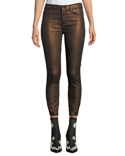 Metallic Mid-Rise Skinny Ankle Jeans