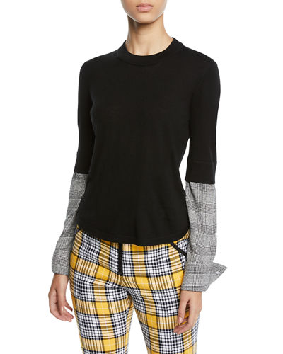 Roscoe Crewneck Wool Sweater with Plaid Sleeves