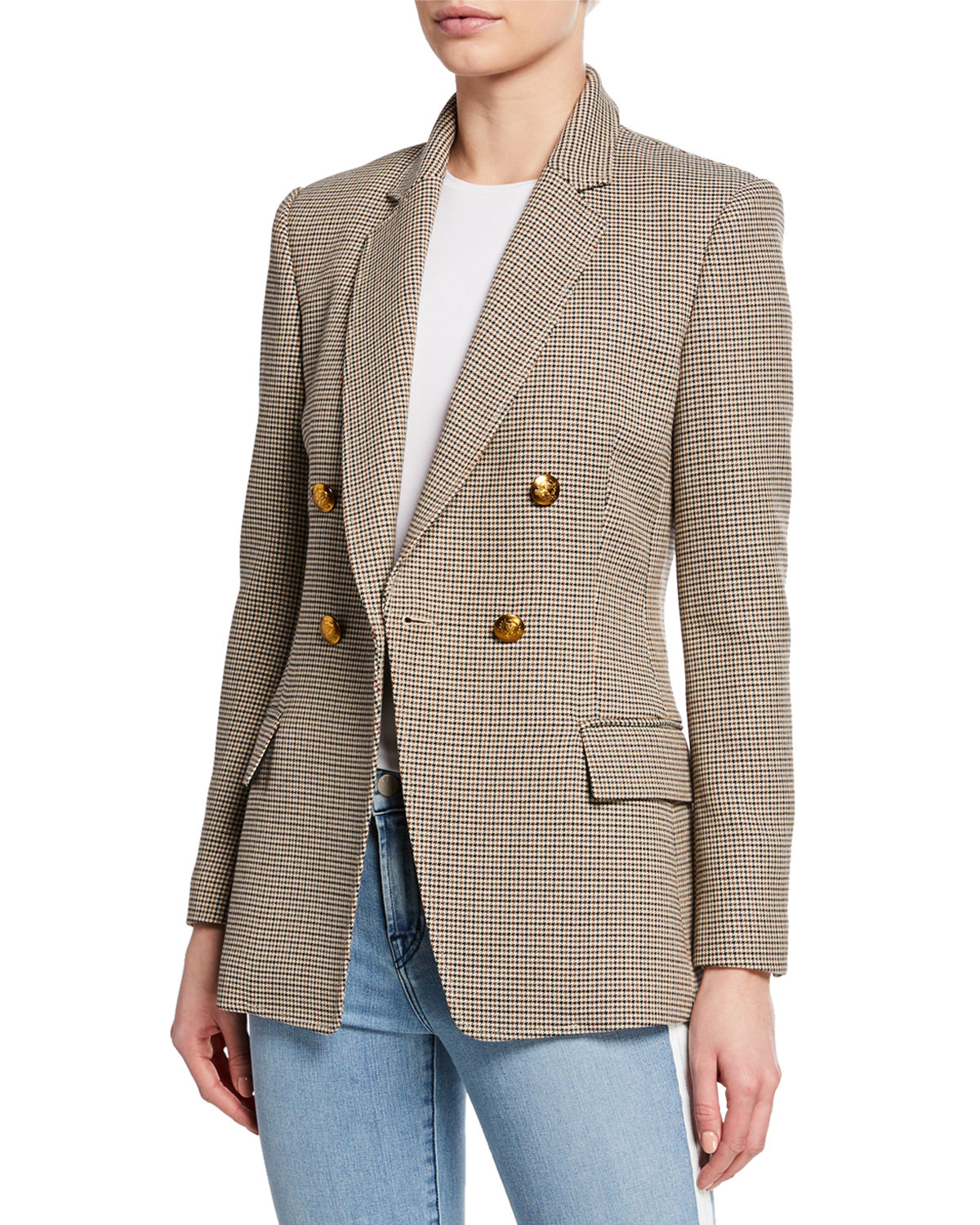 A.l.c Blazers Sedgwick Double-Breasted Houndstooth Blazer, BEIGE
