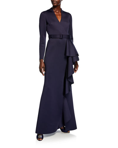 Long-Sleeve Scuba Gown with Side Ruffle Detail