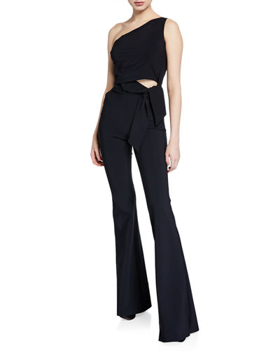 Chabeli One-Shoulder Flared-Leg Jumpsuit