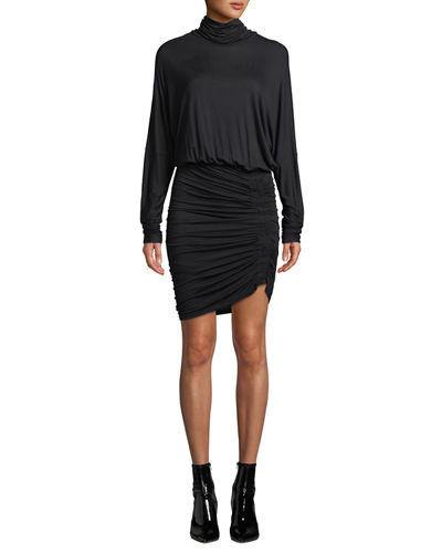 Manda Long-Sleeve Ruched Turtleneck Short Dress