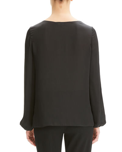 Scoop-Neck Blouson-Sleeve Silk Shirt