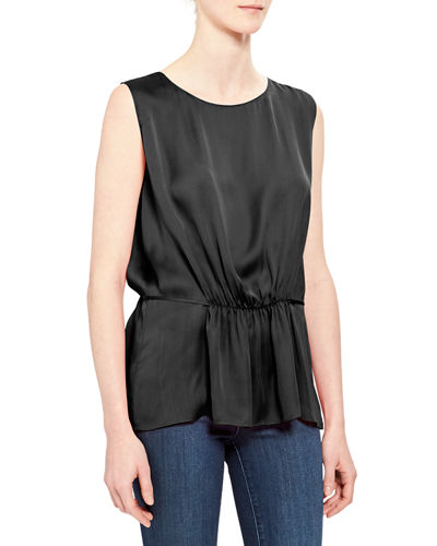 Shirred Silk Tank