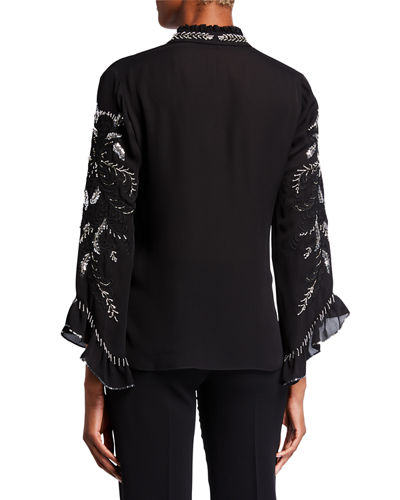 Margo Embellished Tie-Neck Long-Sleeve Silk Blouse