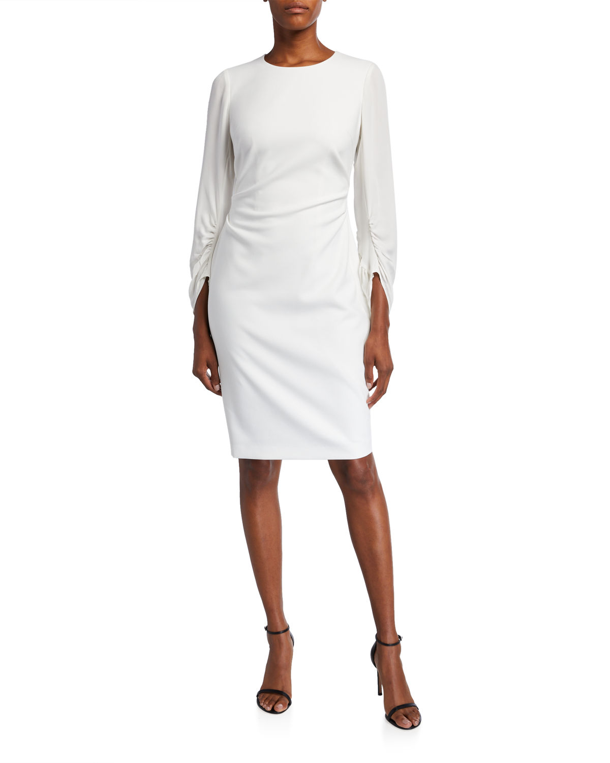 Kobi Halperin Dresses DREW JEWEL-NECK RUCHED-SLEEVE SHEATH DRESS