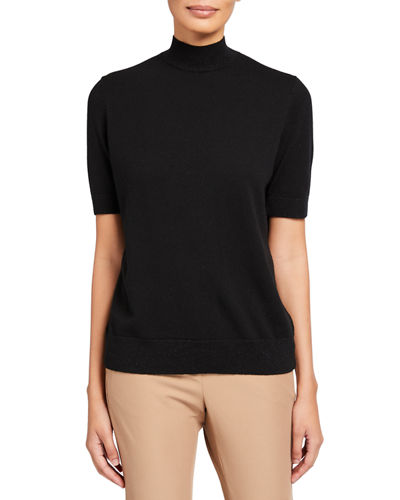 Mock-Neck Cashmere Sweater with Lurex