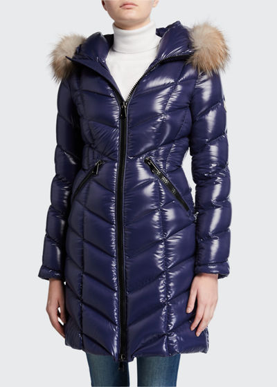 Fulmarus Fur-Trim Hood Chevron Puffer Coat