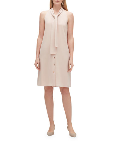 Amore Finesse Crepe Tie-Neck Sleeveless Dress