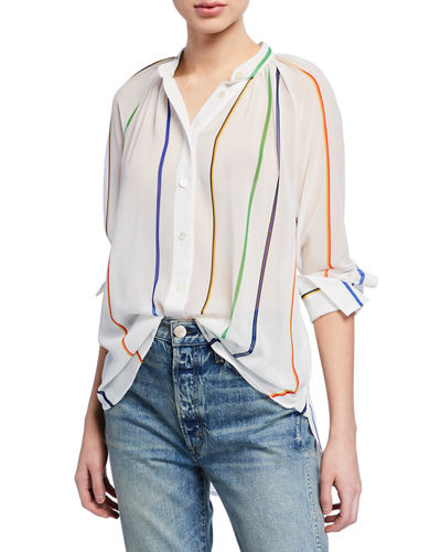 Gathered-Neck Striped Button-Down Top