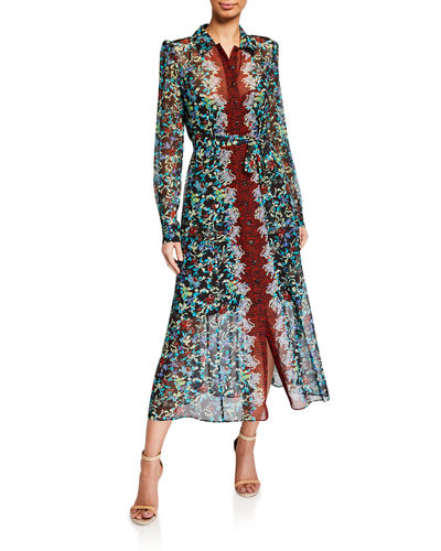 Vanessa Printed Long-Sleeve Shirtdress