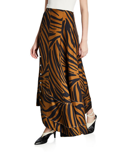 Pleated Zebra-Print Midi Skirt with Snaps