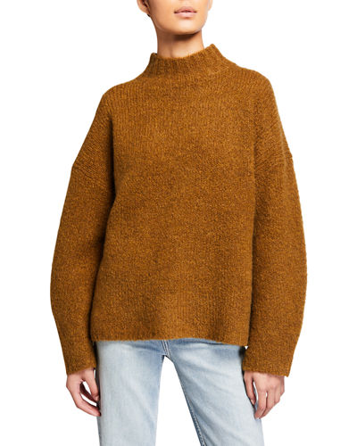 Mock-Neck Drop-Shoulder Pullover Sweater