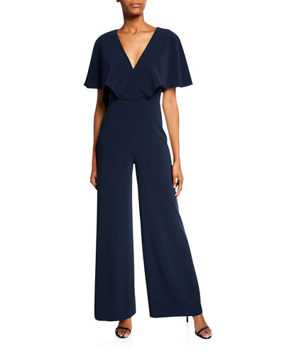 Flowy Cape-Sleeve V-Neck Wide-Leg Jumpsuit