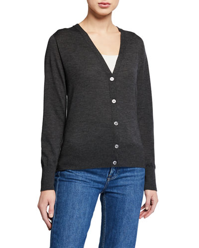 V-Neck Button-Front Long-Sleeve Cardigan