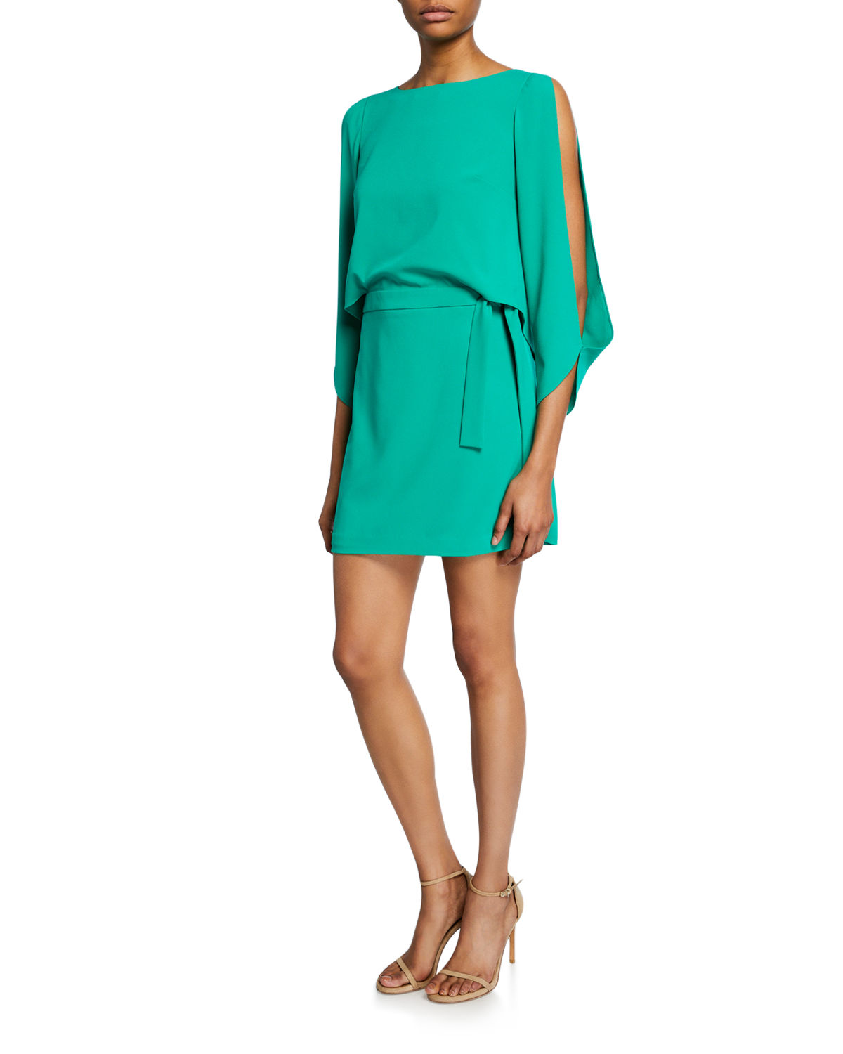 Halston Dresses SLIT-SLEEVE MINI CREPE DRESS