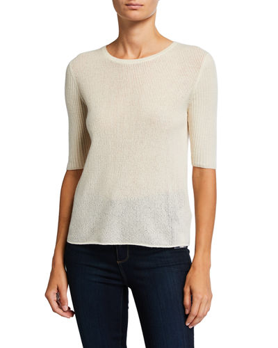 Cashmere Elbow-Sleeve Crewneck Sweater
