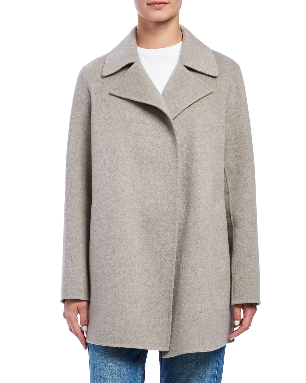 Theory New Divide Wool/cashmere Coat In Taupe Grey