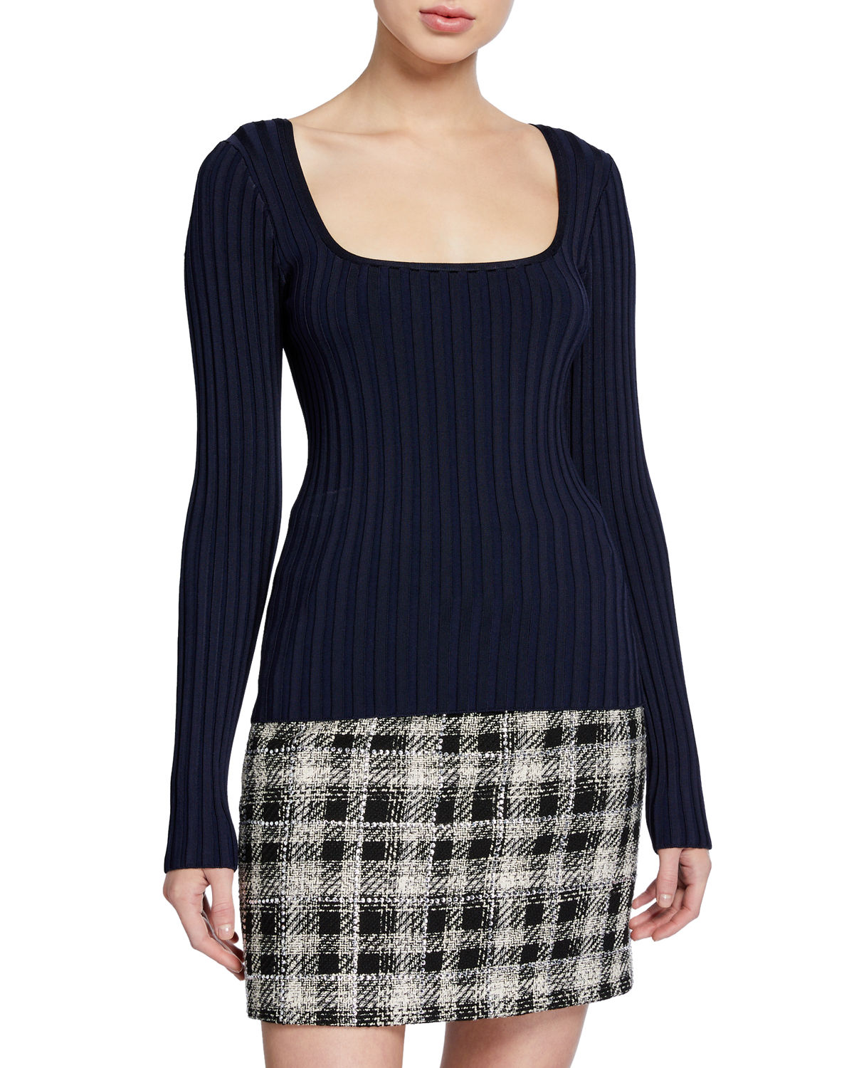Veronica Beard Sweaters CLARA SQUARE-NECK RIBBED PULLOVER SWEATER