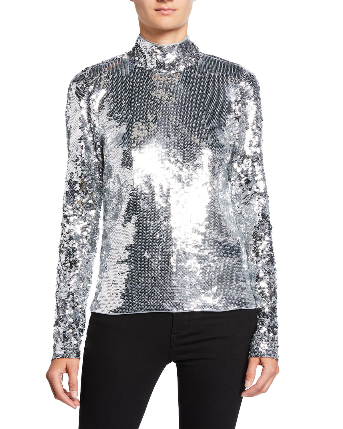 Veronica Beard Tops LUCINDA HIGH-NECK SEQUINED TOP