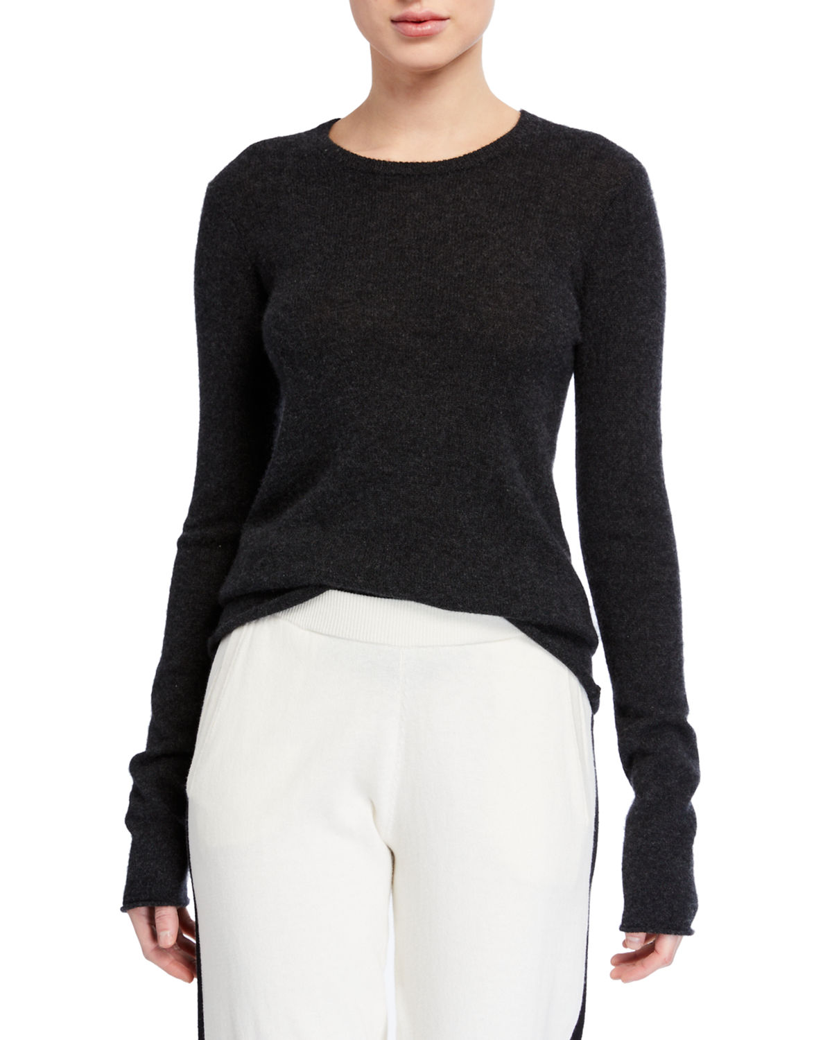 Atm Anthony Thomas Melillo Tops CASHMERE LONG-SLEEVE CREWNECK TOP