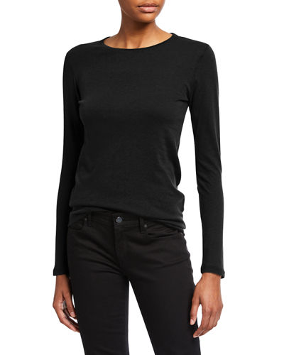 Cotton/Cashmere Long-Sleeve Crewneck Tee