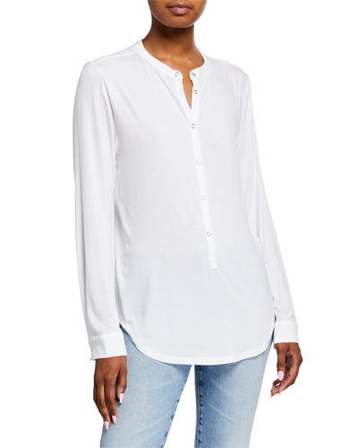 Snap-Front Viscose Oversized Henley Top