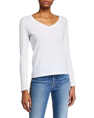 V-Neck Long-Sleeve Silk Touch Cotton Top