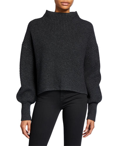Helena Mock-Neck Lambswool Sweater