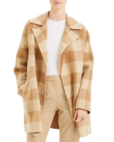 Overlay Double-Face Check Coat
