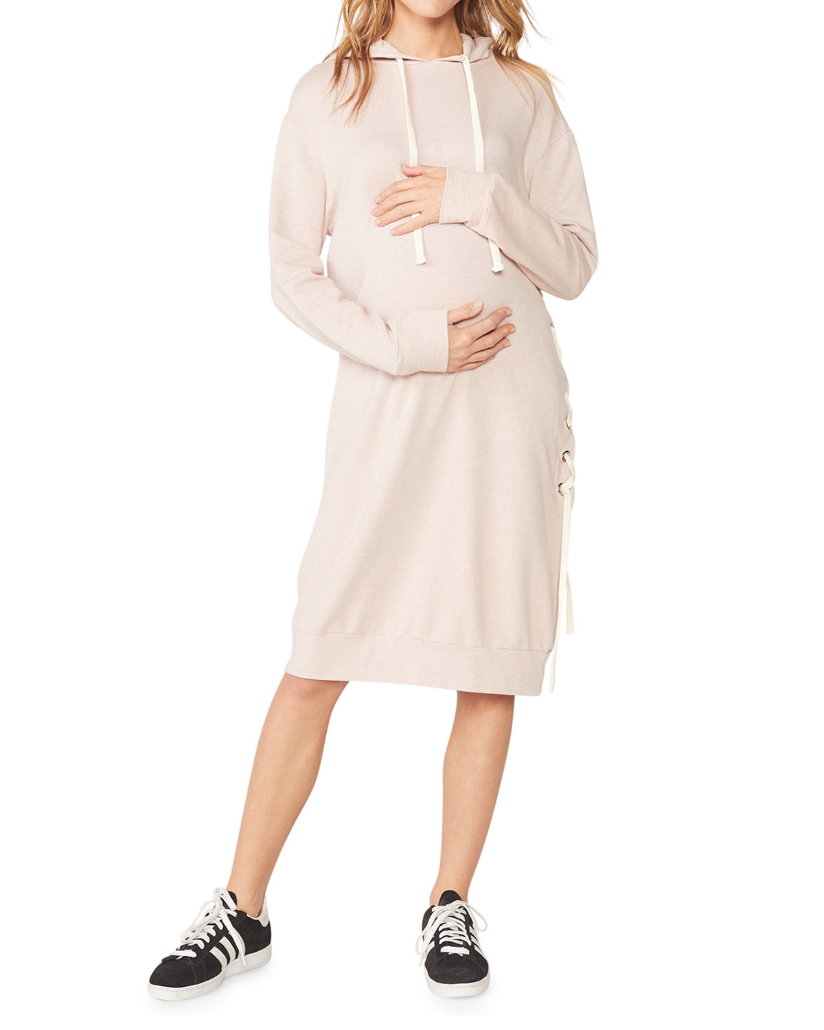 Monrow Dresses MATERNITY SUPER-SOFT HOODED LACE-UP DRESS