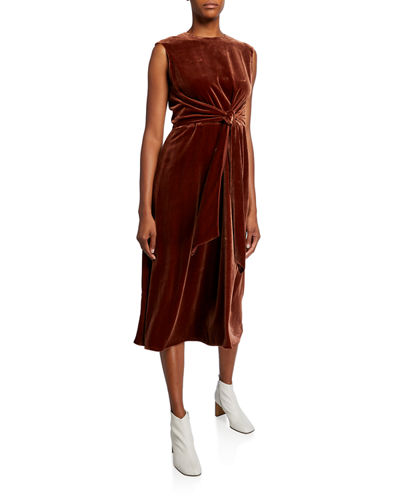 Talana Sleeveless Tie-Waist Calf-Length Velvet Dress
