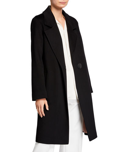 One-Button Long Wool Coat