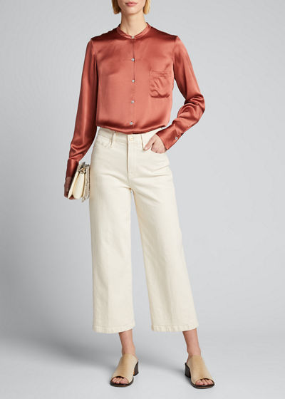 Slim Fitted Band Collar Button-Down Silk Shirt