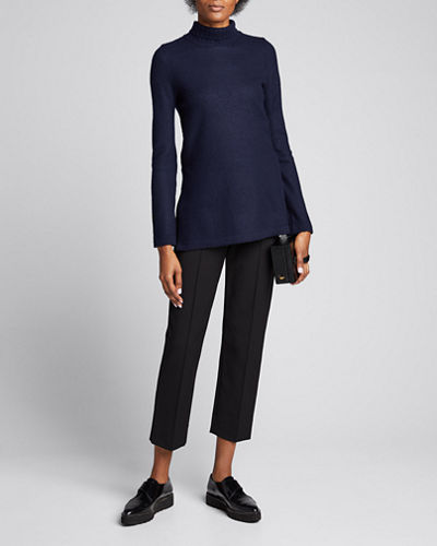 Cashmere Side-Slit Turtleneck Tunic Sweater
