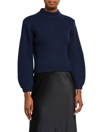Ribbed Merino Sweater with Slit Neckline