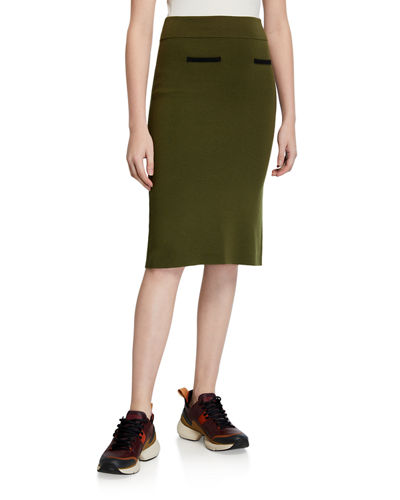 Two-Tone Wool Pencil Skirt