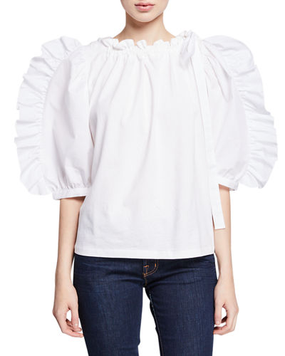 d0b63fb8654bc4 Frilled Poplin Boat-Neck 3/4-Sleeve Blouse Quick Look. WHITE. See by Chloe