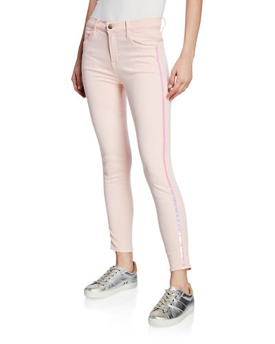 Alana High-Rise Cropped Super Skinny Jeans w/ Ladder Lace