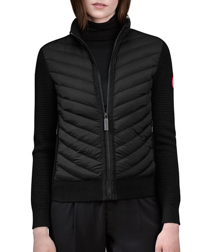 Hybridge Knit Puffer-Front Jacket