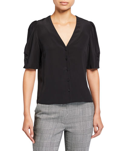 Olivia V-Neck Button-Front Silk Top