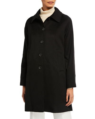 Cashmere A-Line Button-Front Coat