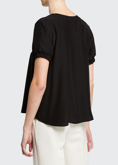 Lenny Crewneck Short-Sleeve Silk Top