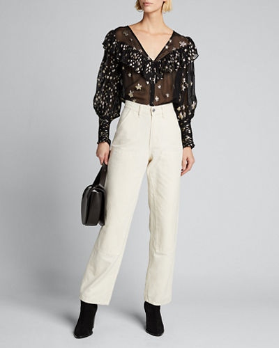 Harleigh Sequined Ruffle Button-Down Top