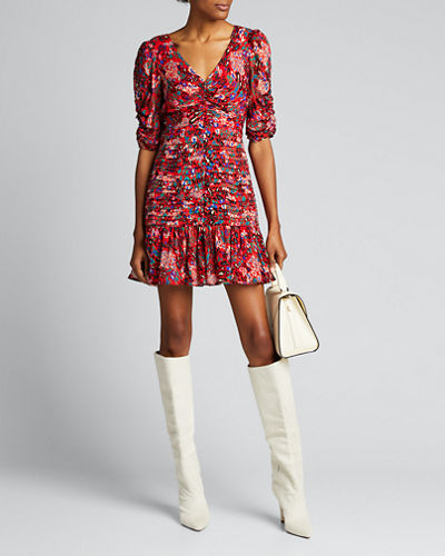 Pansy Printed V-Neck Pintuck Dress