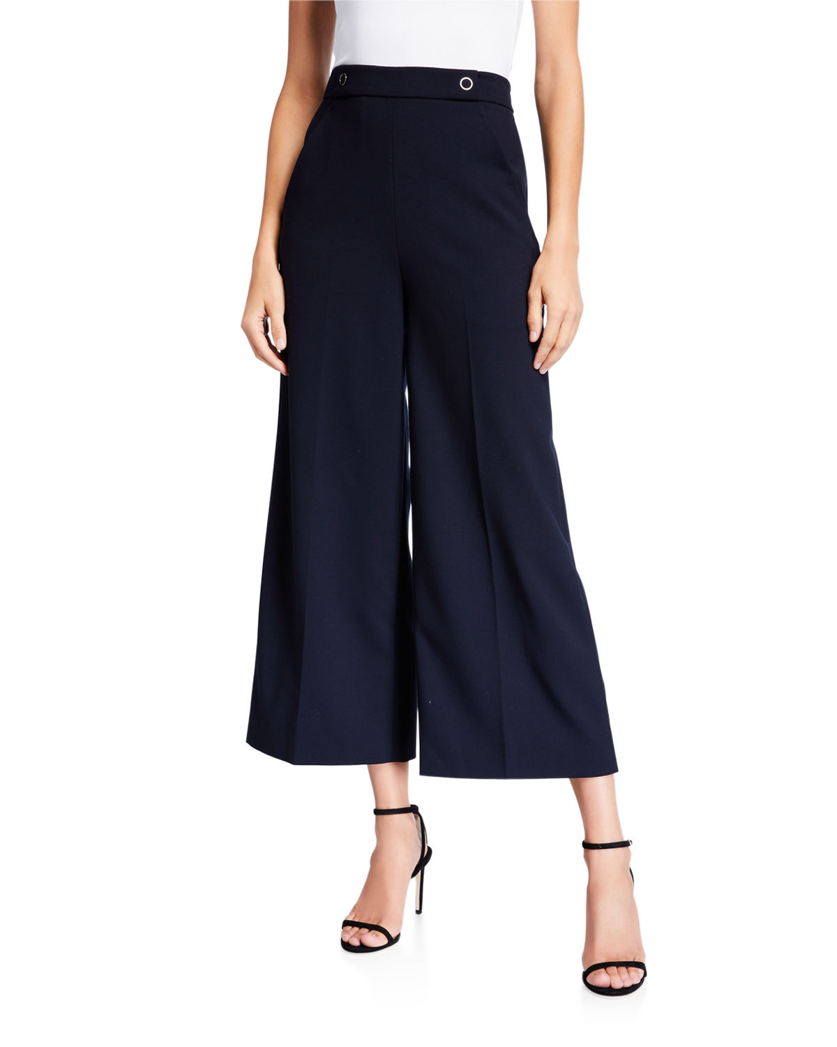 Elie Tahari Pants JUNO WIDE-LEG CROP PANTS