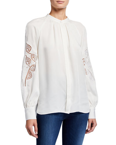 Slate Button-Down Eyelet Sleeve Silk Shirt