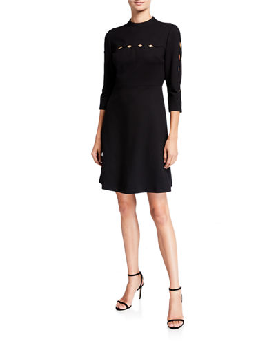 Senna 3/4-Sleeve A-Line Dress with Cutout Details