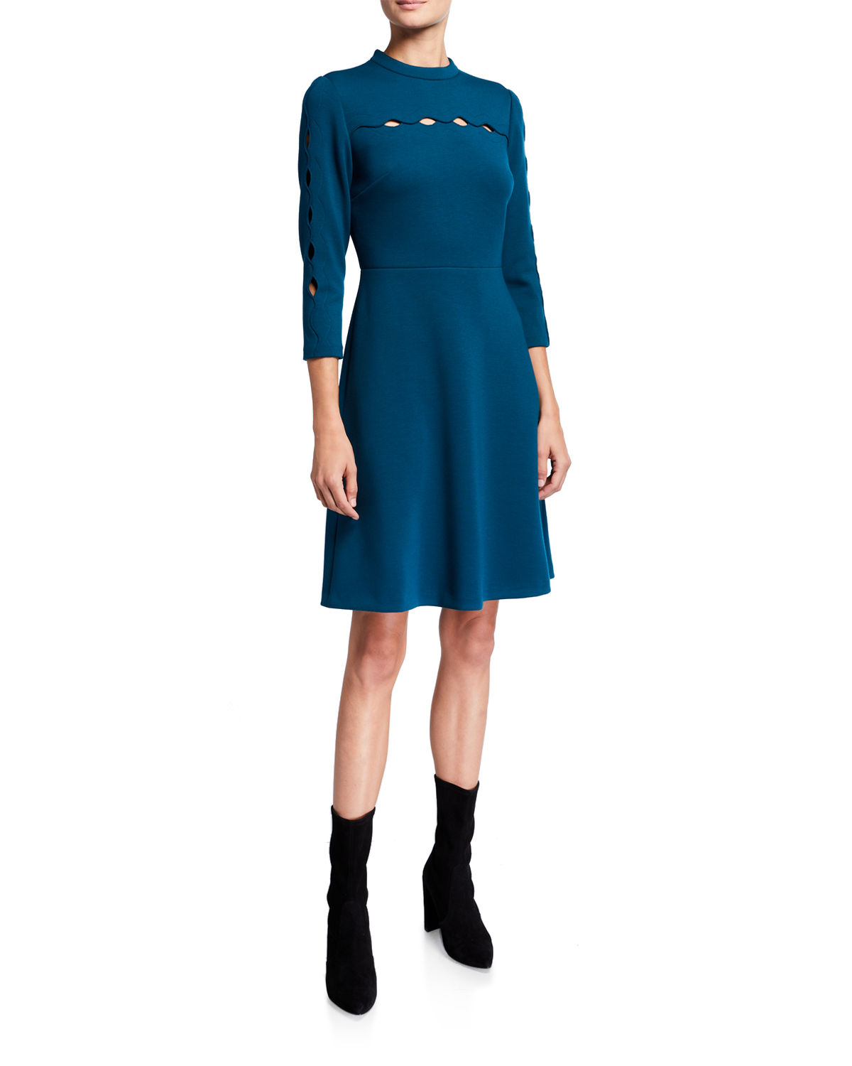 Elie Tahari Dresses SENNA 3/4-SLEEVE A-LINE DRESS WITH CUTOUT DETAILS